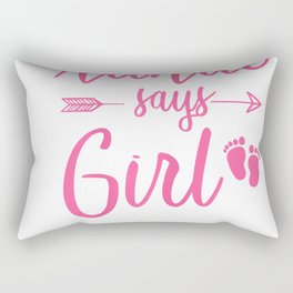 Womens Funny Auntie says Girl T Shirt Gender Reveal Gifts Aunties T-Shirt Rectangular Pillow