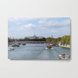 Seine and Grand Palais from Pont Royal - Paris, France Metal Print