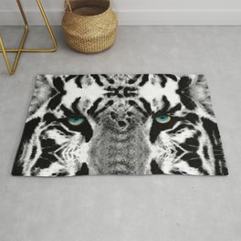 Dressed To Kill - White Tiger Art By Sharon Cummings Rug
