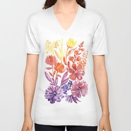 Floral abstract and colorful watercolor illustration Unisex V-Neck