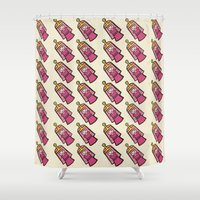 bubblegum Shower Curtains featuring BUBBLEGUM by SuperPills