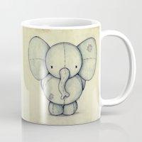 elephant Mugs featuring Cute Elephant by Mike Koubou