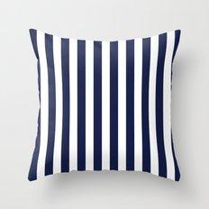 Stripe Vertical Navy Blue Throw Pillow