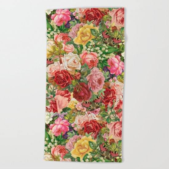 Vintage Retro flower pattern old fashioned Beach Towel