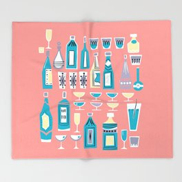 Cocktails And Drinks In Aquas and Pinks Throw Blanket