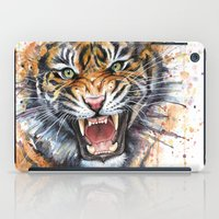 tiger iPad Cases featuring Tiger by Olechka