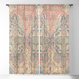 Geometric Leaves VIII // 18th Century Distressed Red Blue Green Colorful Ornate Accent Rug Pattern Sheer Curtain