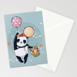 Little Panda with Balloons Illustration Stationery Cards