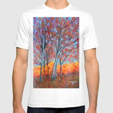 Red forest  MEDIUM White Mens Fitted Tee