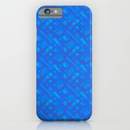 Stylish design with interlaced circles and light blue rectangles of stripes. iPhone Case