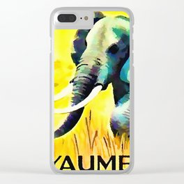 Elephant in the yellow field Clear iPhone Case
