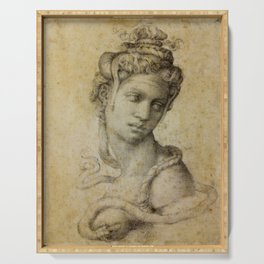 "Michelangelo Buonarroti ""Female Figure Seen in Bust-Length From the Front (Cleopatra with snake)"" Serving Tray"