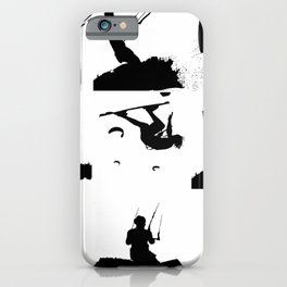 Wakeboarder Silhouette Collage iPhone Case