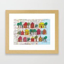 Cedarburg and Grafton, WI Continuous Line Drawing on vintage map Framed Art Print