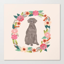 weimaraner floral wreath dog breed pure breed pet portrait Canvas Print