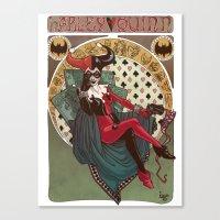 harley quinn Canvas Prints featuring Harley Quinn by LaurenceBaldetti