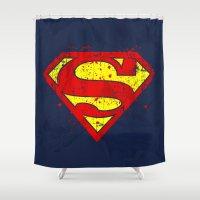 supergirl Shower Curtains featuring Super Man's Splash by Sitchko Igor