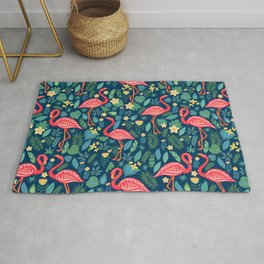 Flamingo Blue Pattern Rug