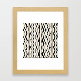 Abstract Cream Brown Black Geometric Pattern Framed Art Print