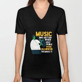 Cool Comic Saxo Player - Music Enthusiast Unisex V-Neck