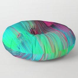 Just Chillin' - Abstract Neon Glitch Pixel Art Floor Pillow