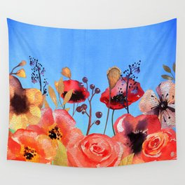 Summer meadow with Flowers and Poppies  in Twilight Wall Tapestry