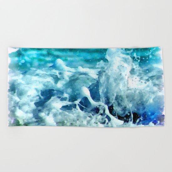 Sea Splash Watercolor Beach Towel