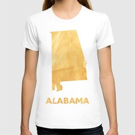 Alabama map outline Sunny yellow watercolor T-shirt