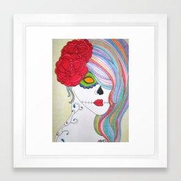 Colored Pencil Skull Girl Framed Art Print