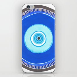 Blue and Silver Evil Eye Mandala iPhone Skin
