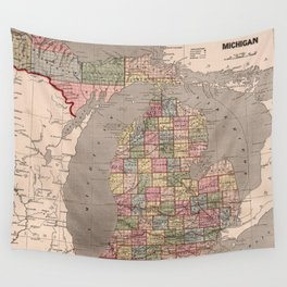 Vintage Map of Michigan (1844) Wall Tapestry