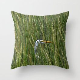 Egret in Tall Reeds Throw Pillow
