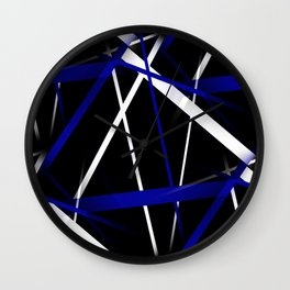 Seamless Royal Blue and White Stripes on A Black Background Wall Clock