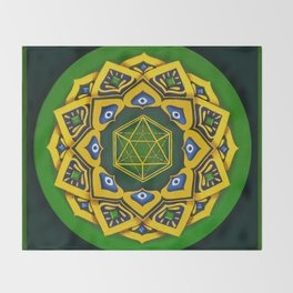 """Sacred geometry"" Green mandala by Ilse Quezada Throw Blanket"