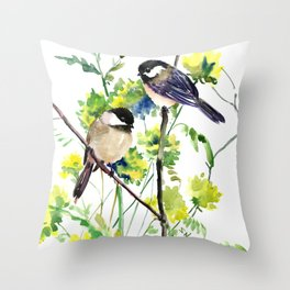 chickadees and Spring Blossom Throw Pillow