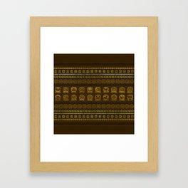 Maya Calendar Glyphs pattern Gold on Brown Framed Art Print