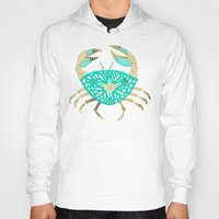 crab Hoodies featuring Crab – Turquoise & Gold by Cat Coquillette