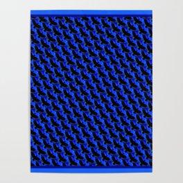 Black and Blue Bird Lover Design Pattern Poster