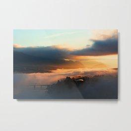 Foggy Morning in Kamloops Metal Print