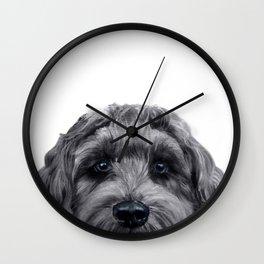 Labradoodle black Original painting by miart Wall Clock