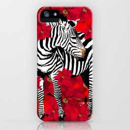ZEBRA AND FLOWERS iPhone Case