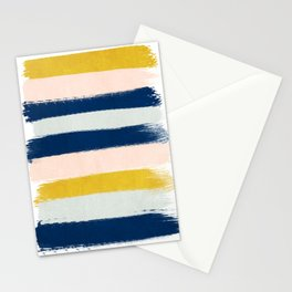 Esther - navy mint gold painted stripes brushstrokes minimal modern canvas art painting Stationery Cards