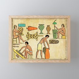 Modern hieroglyphs: Ancient Egypt workers tanning and finishing animal furs Framed Mini Art Print