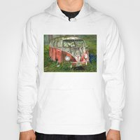 vw bus Hoodies featuring VW Bus in the Woods by Barb Laskey Studio