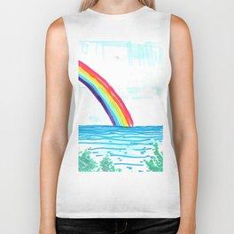 rainbow in the beach Biker Tank