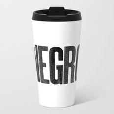 Voy de negro — Letterpress (White) Metal Travel Mug