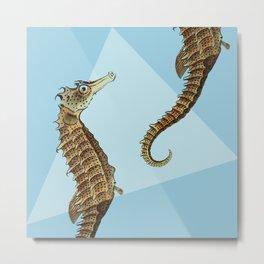 Seahorse Triangle Geometric Modern Beach House Colorful Metal Print