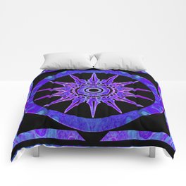 Starlit Purple Nights Abstract Mandala Artwork Comforters