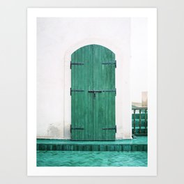 Le Jardin Secret | Turquoise wooden door in Marrakech | Colorful travel photograph wanderlust Art Print