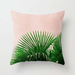 Palm Leaves On Pink Background Throw Pillow